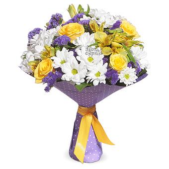 Букет Цветочная импровизация: Хризантемы и альстромерия
