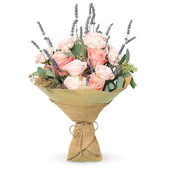 Букет Английские розы с лавандой